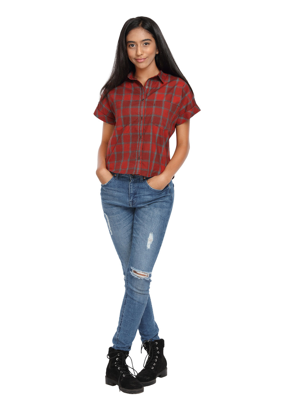 Crop Shirt Red Check - GENZEE
