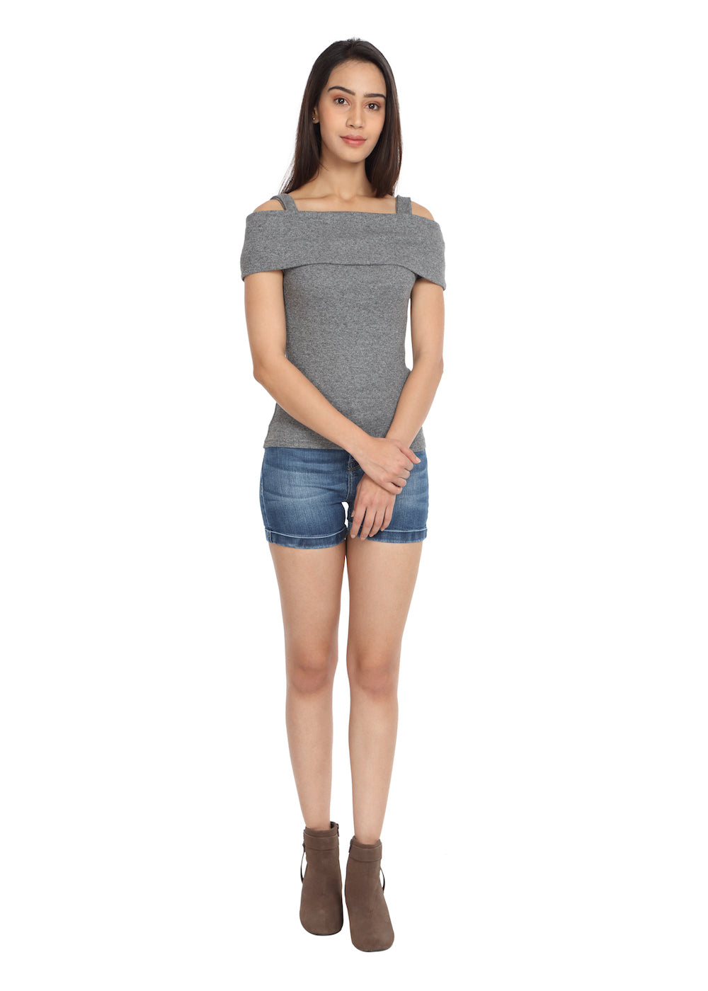 Grey Fold-Over Top - GENZEE