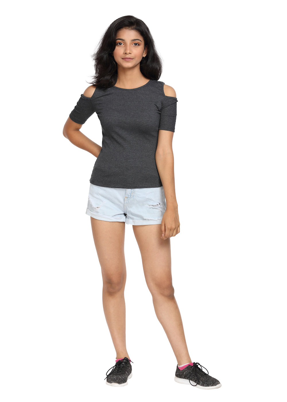 Half Sleeve Ribbed Cold Shoulder Grey Top with a Cross Back - GENZEE