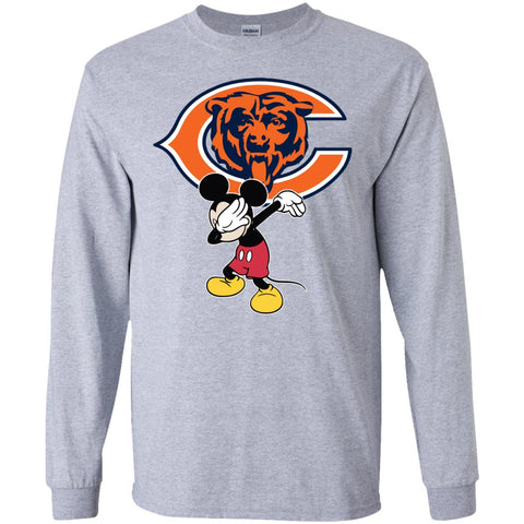 Dabbing Mickey Funny Love Chicago Bears America Football Long Sleeve T-Shirt
