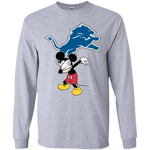 Dabbing Mickey Funny Love Detroit Lions America Football Long Sleeve T-Shirt