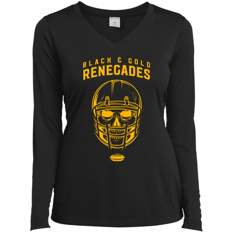 Black And Gold Renegades T-shirt Black / X-Small LST353LS Sport-Tek Ladies' LS Performance V-Neck T-Shirt - teesdiys
