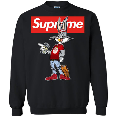 Bug Bunny Hip Hop Supreme T-shirt Black / Small G180 Gildan Crewneck Pullover Sweatshirt 8 oz. - teesdiys