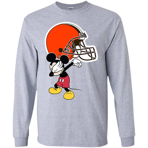 Dabbing Mickey Funny Love Cleveland Browns America Football Long Sleeve T-Shirt