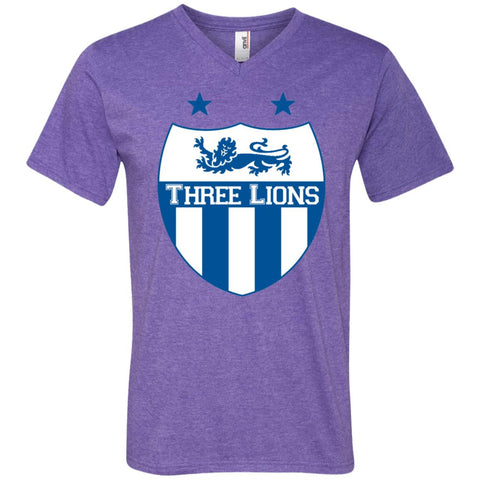 Ancaster Three Lions T-shirt - teesdiys Heather Purple / Small 982 Anvil Men's Printed V-Neck T-Shirt - teesdiys