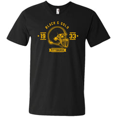 Black And Gold Pittsburgh T-shirt 982 Anvil Men's Printed V-Neck T-Shirt - teesdiys
