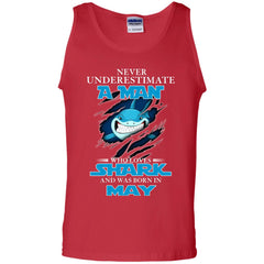 Nerver Underestimate A Man Who Love Shark And Was Born In May Tank Top Tank Top - teesdiys