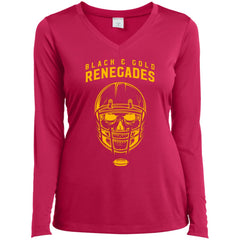 Black And Gold Renegades T-shirt LST353LS Sport-Tek Ladies' LS Performance V-Neck T-Shirt - teesdiys