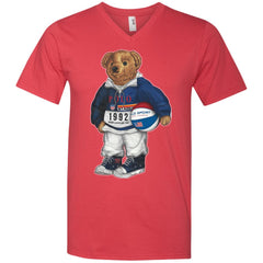 Bigger Bear With Ball T-shirt 982 Anvil Men's Printed V-Neck T-Shirt - teesdiys