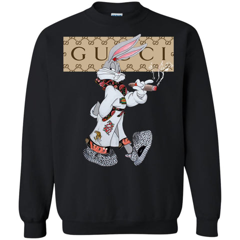 Boss Bunny Gucci T-shirt Black / Small G180 Gildan Crewneck Pullover Sweatshirt 8 oz. - teesdiys