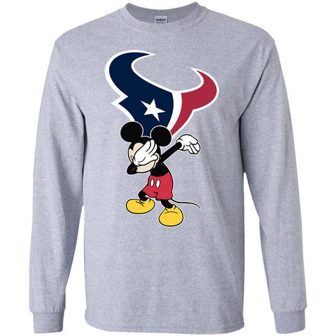 Dabbing Mickey Funny Love Houston Texans America Football Long Sleeve T-Shirt