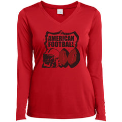 American Football T-shirt - teesdiys LST353LS Sport-Tek Ladies' LS Performance V-Neck T-Shirt - teesdiys