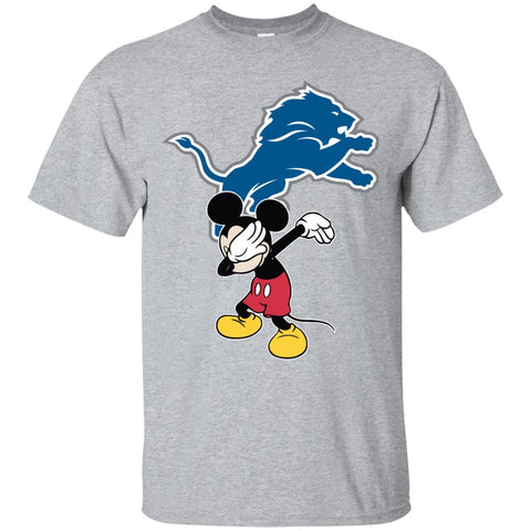 Dabbing Mickey Funny Love Detroit Lions America Football Men's T-Shirt