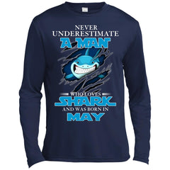 Nerver Underestimate A Man Who Love Shark And Was Born In May Premium Long Sleeve T-Shirt Premium Long Sleeve T-Shirt - teesdiys