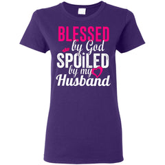 Blessed By God Spoiled By My Husband G500L Gildan Ladies' 5.3 oz. T-Shirt - teesdiys