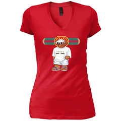 Bear In White Gucci T-shirt - teesdiys DT4501 District Junior's Vintage Wash V-Neck T-Shirt - teesdiys