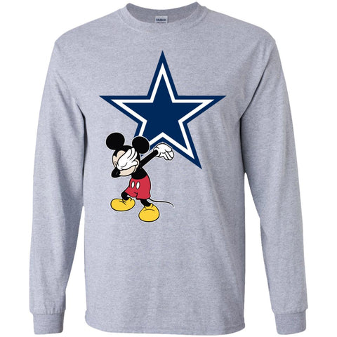 Dabbing Mickey Funny Love Dallas Cowboys America Football Long Sleeve T-Shirt