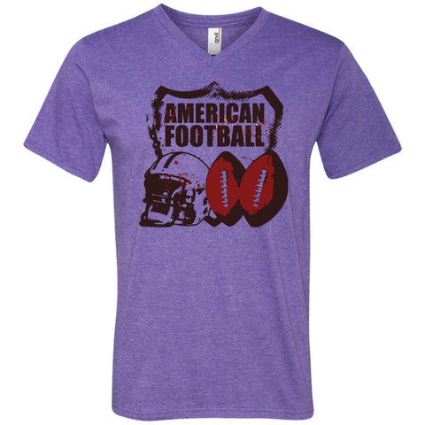 American Football T-shirt - teesdiys Heather Purple / Small 982 Anvil Men's Printed V-Neck T-Shirt - teesdiys