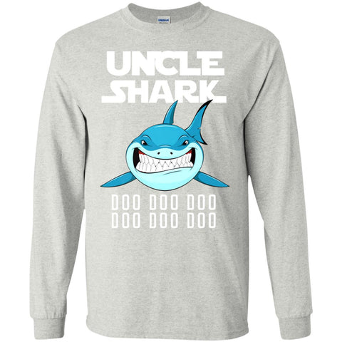 Uncle Shark Long Sleeve T-Shirt Ash / S Long Sleeve T-Shirt - teesdiys