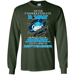 Nerver Underestimate A Man Who Love Shark And Was Born In September Long Sleeve T-Shirt Long Sleeve T-Shirt - teesdiys
