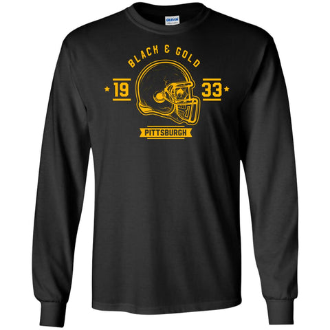 Black And Gold Pittsburgh T-shirt Black / Small G240 Gildan LS Ultra Cotton T-Shirt - teesdiys