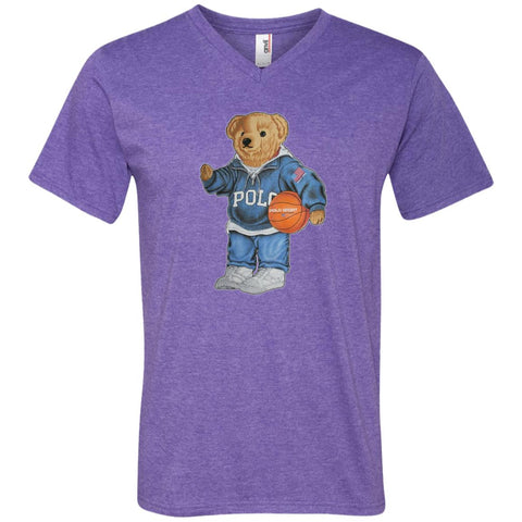 Bigger Bear With Sport Fashion T-shirt Heather Purple / S 982 Anvil Men's Printed V-Neck T-Shirt - teesdiys
