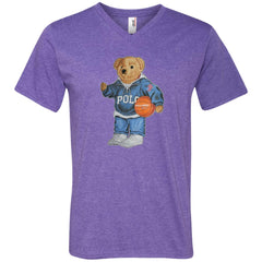 Bigger Bear With Sport Fashion T-shirt 982 Anvil Men's Printed V-Neck T-Shirt - teesdiys
