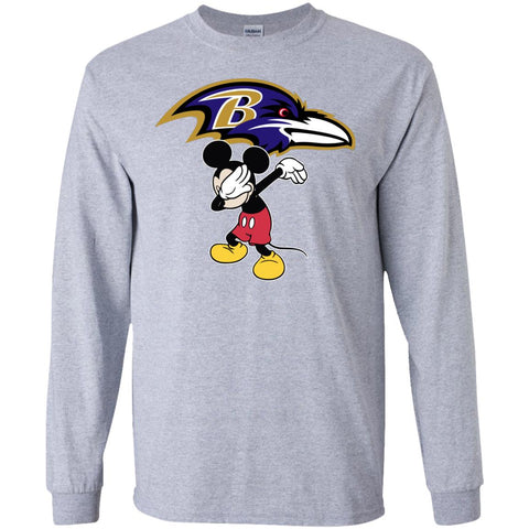 Dabbing Mickey Funny Love Baltimore Ravens America Football Long Sleeve T-Shirt