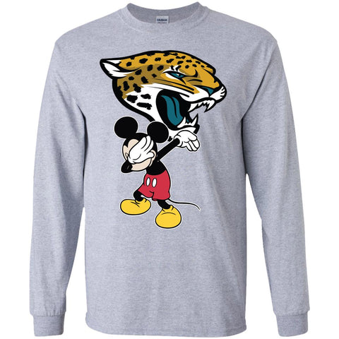 Dabbing Mickey Funny Love Jacksonville Jaguars America Football Long Sleeve T-Shirt