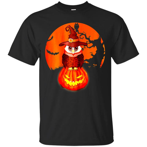 Funny Halloween With Owl Witch And Pumpking In The Red Moon Men's T-Shirt Black / S Men's T-Shirt - teesdiys