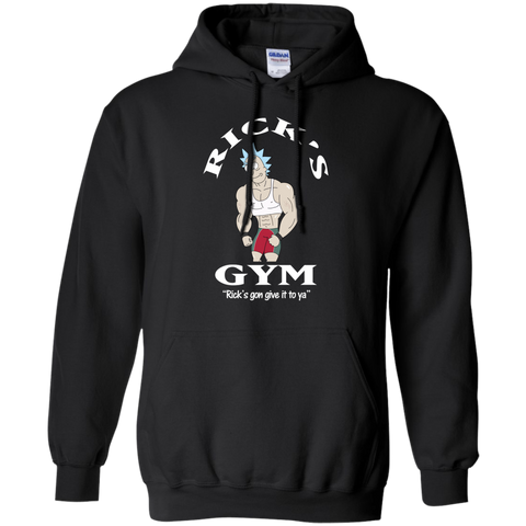 Best Rick And Morty Rick's Gym Gon Give It To Ya T Shirt Top Black / Small G185 Gildan Pullover Hoodie 8 oz - teesdiys