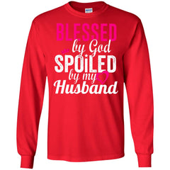 Blessed By God Spoiled By My Husband G240 Gildan LS Ultra Cotton T-Shirt - teesdiys