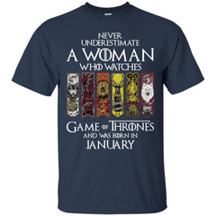 A Woman Who Watches Game Of Thrones And Was Born In January Shirt - teesdiys Gildan Ultra Cotton T-Shirt - teesdiys