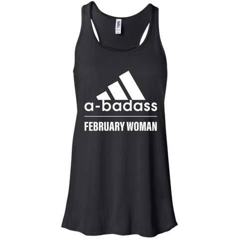 Abadass February Woman T Shirt Shirt - teesdiys Black / X-Small Bella + Canvas Flowy Racerback Tank - teesdiys