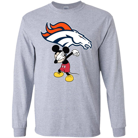 Dabbing Mickey Funny Love Denver Broncos America Football Long Sleeve T-Shirt