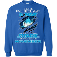 Nerver Underestimate A Man Who Love Shark And Was Born In November Sweatshirt Sweatshirt - teesdiys