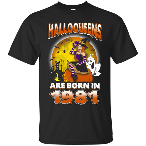 Funny Halloween Halloqueens Are Born In 1981 Men's T-Shirt Black / S Men's T-Shirt - teesdiys