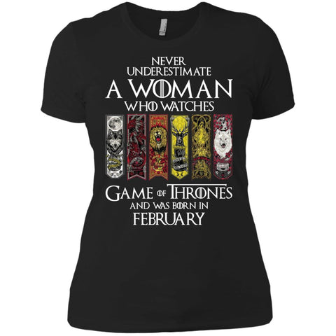 A Woman Who Watches Game Of Thrones And Was Born In February Shirt - teesdiys Black / X-Small Next Level Ladies' Boyfriend T-Shirt - teesdiys