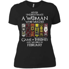 A Woman Who Watches Game Of Thrones And Was Born In February Shirt - teesdiys Next Level Ladies' Boyfriend T-Shirt - teesdiys