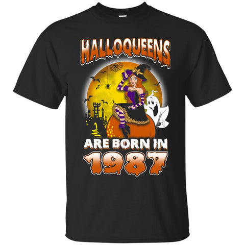 Funny Halloween Halloqueens Are Born In 1987 Men's T-Shirt Black / S Men's T-Shirt - teesdiys
