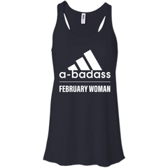 Abadass February Woman T Shirt Shirt - teesdiys Bella + Canvas Flowy Racerback Tank - teesdiys