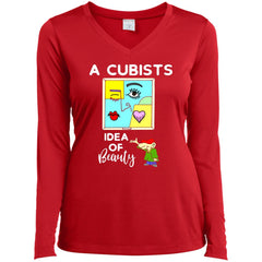 A Cubists Idea Of Beauty T-shirt LST353LS Sport-Tek Ladies' LS Performance V-Neck T-Shirt - teesdiys