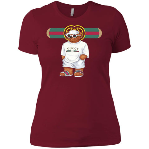 Bear In White Gucci T-shirt - teesdiys Scarlet / X-Small NL3900 Next Level Ladies' Boyfriend T-Shirt - teesdiys