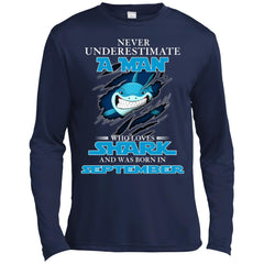 Nerver Underestimate A Man Who Love Shark And Was Born In September Premium Long Sleeve T-Shirt Premium Long Sleeve T-Shirt - teesdiys