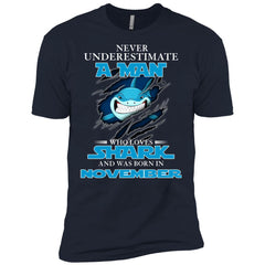 Nerver Underestimate A Man Who Love Shark And Was Born In November Premium T-Shirt Premium T-Shirt - teesdiys