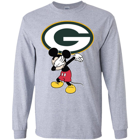 Dabbing Mickey Funny Love Green Bay Packers America Football Long Sleeve T-Shirt