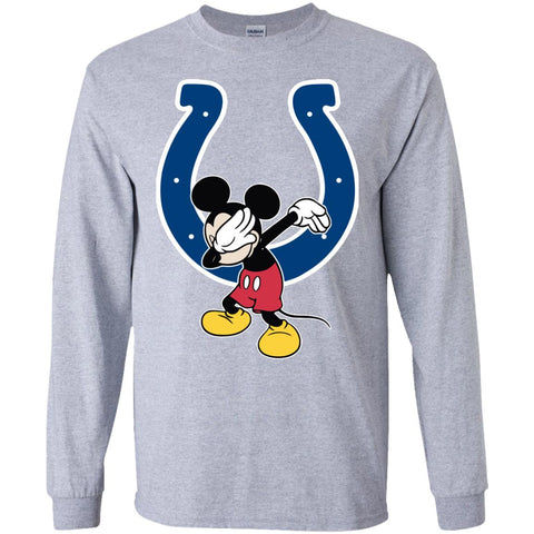 Dabbing Mickey Funny Love Indianapolis Colts America Football Long Sleeve T-Shirt