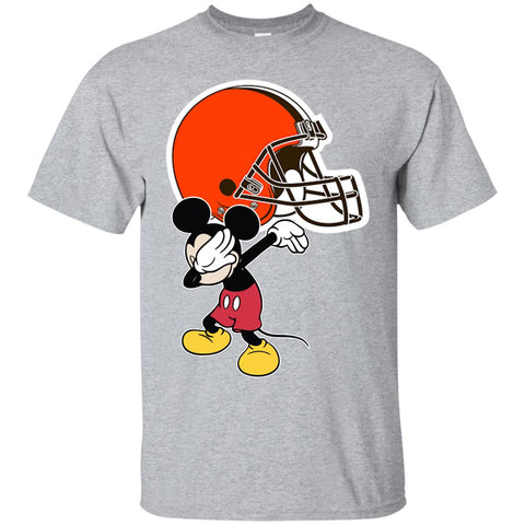 Dabbing Mickey Funny Love Cleveland Browns America Football Men's T-Shirt