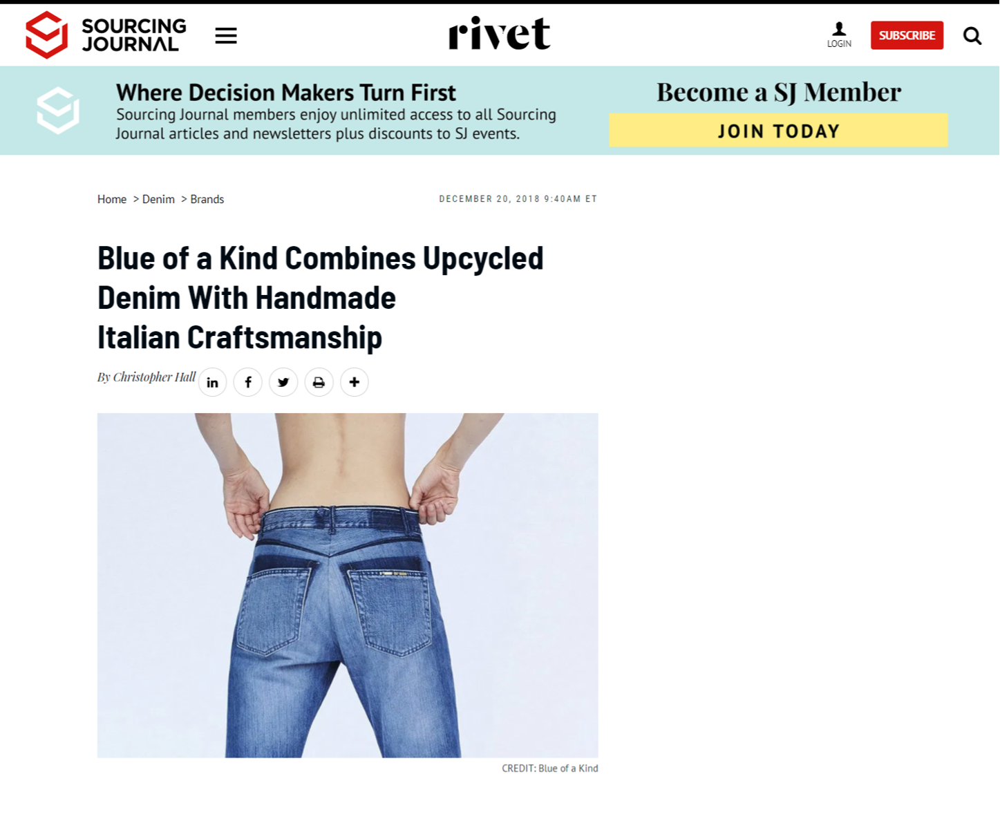 Sourcingjournal.com Rivet - Blue of a Kind Combines Upcycled Denim With Handmade Italian Craftsmanship