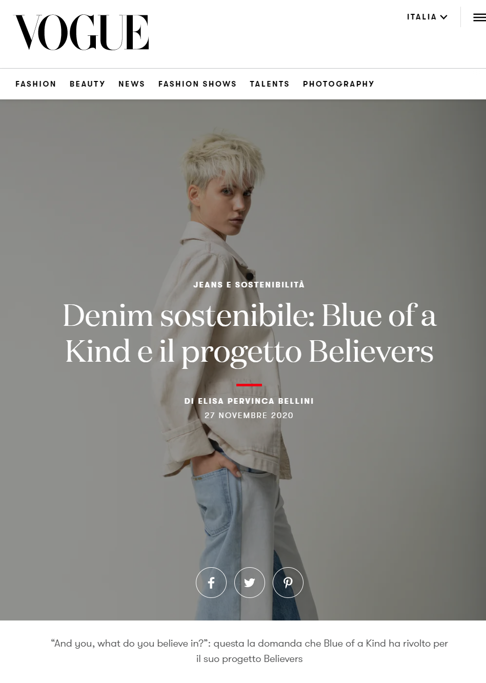 Vogue.it - Denim sostenibile: Blue of a Kind e il progetto believers